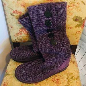 Tall Knit Ugg Boot Purple scrunch size 10